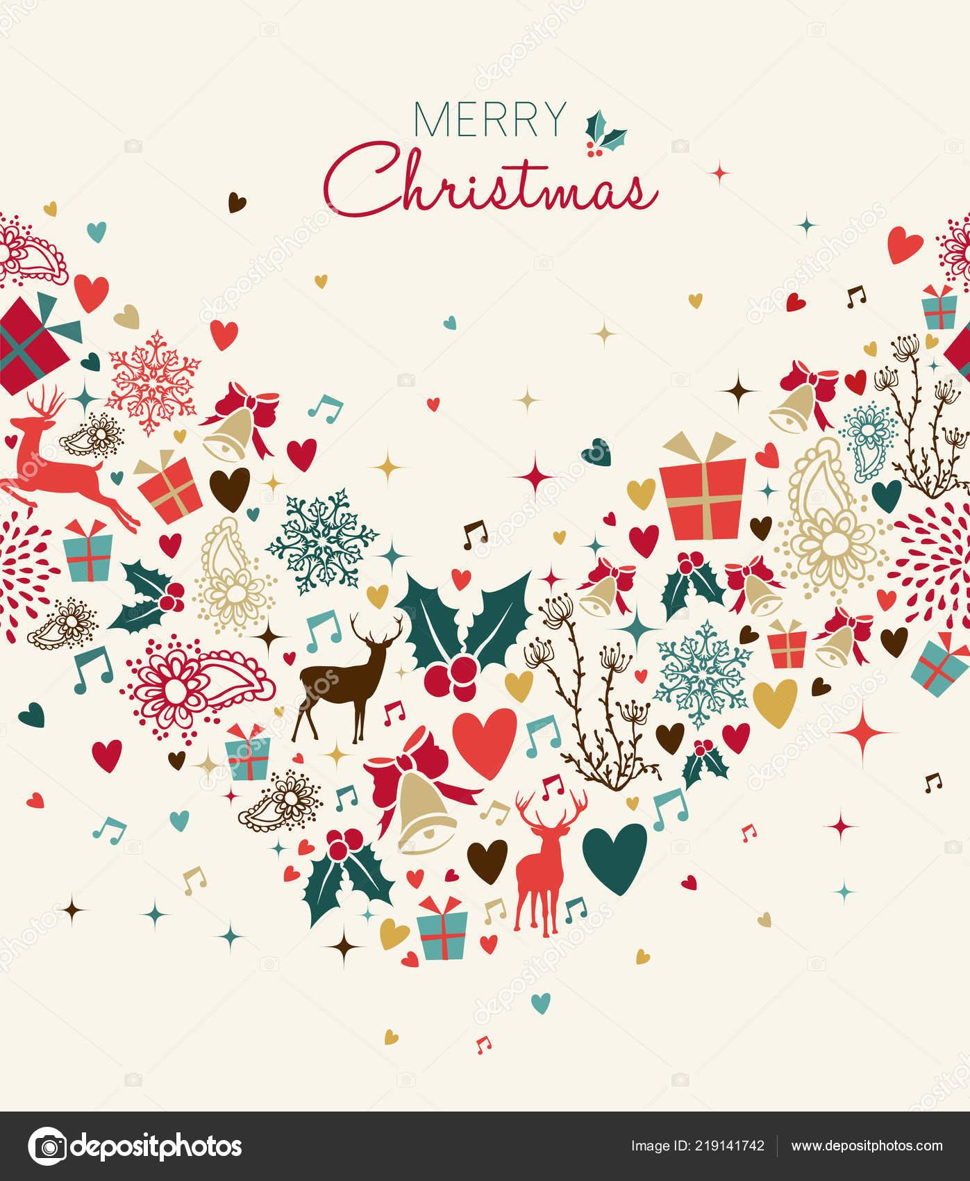 Merry Christmas Retro Style Card Vintage Reindeer Seamless Pattern ...