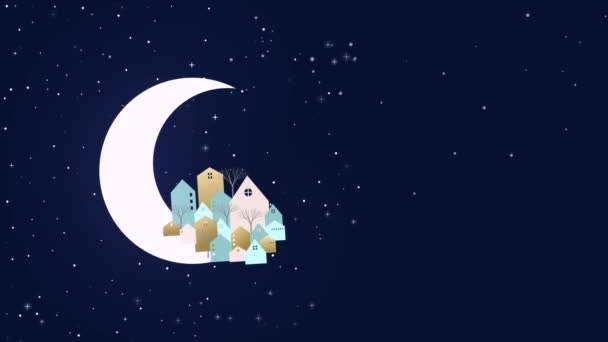Christmas and New Year card template, winter city in night sky moon with Santa Claus and reindeers on sledge. Celebration event or xmas holiday party background.