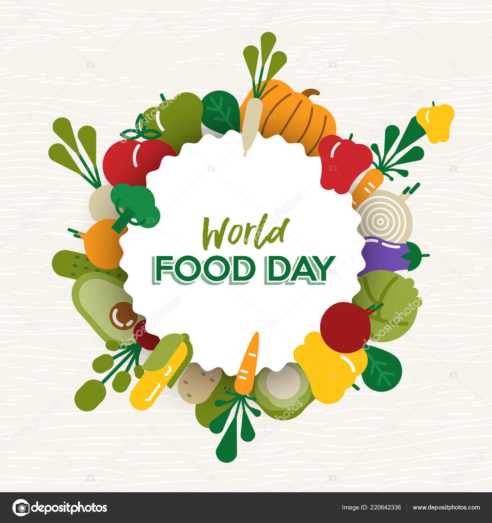 Mundial Día Alimentación Tarjeta Felicitación Dibujo Para