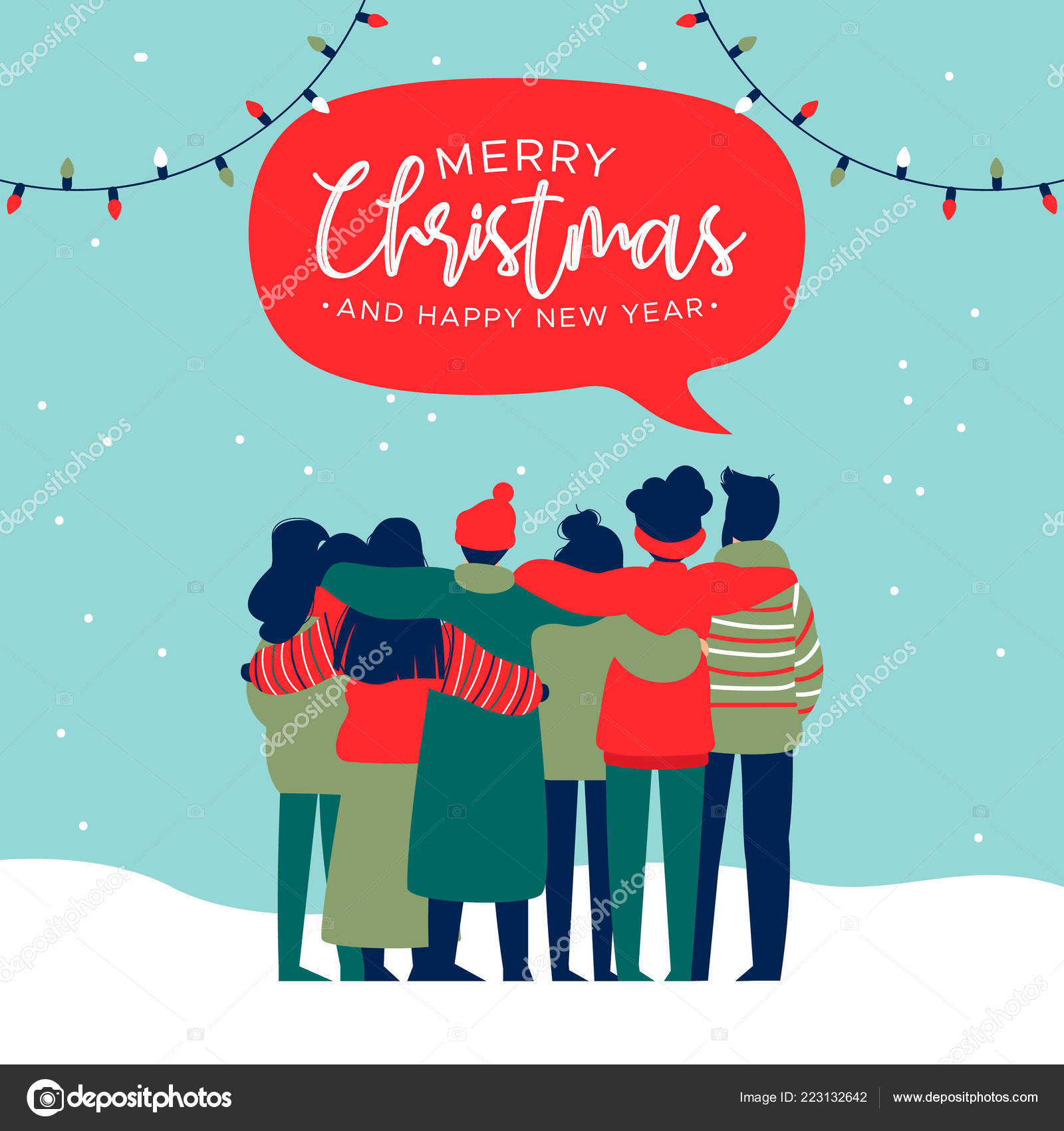 merry christmas and happy new year greeting card illustration of young people friend group hugging together at holiday party diverse culture friends team