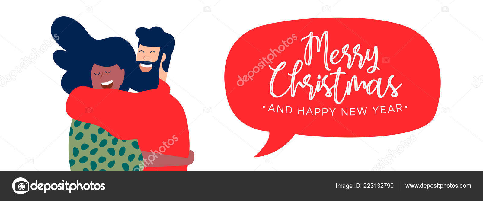 merry christmas happy new year web banner illustration two friends stock vector