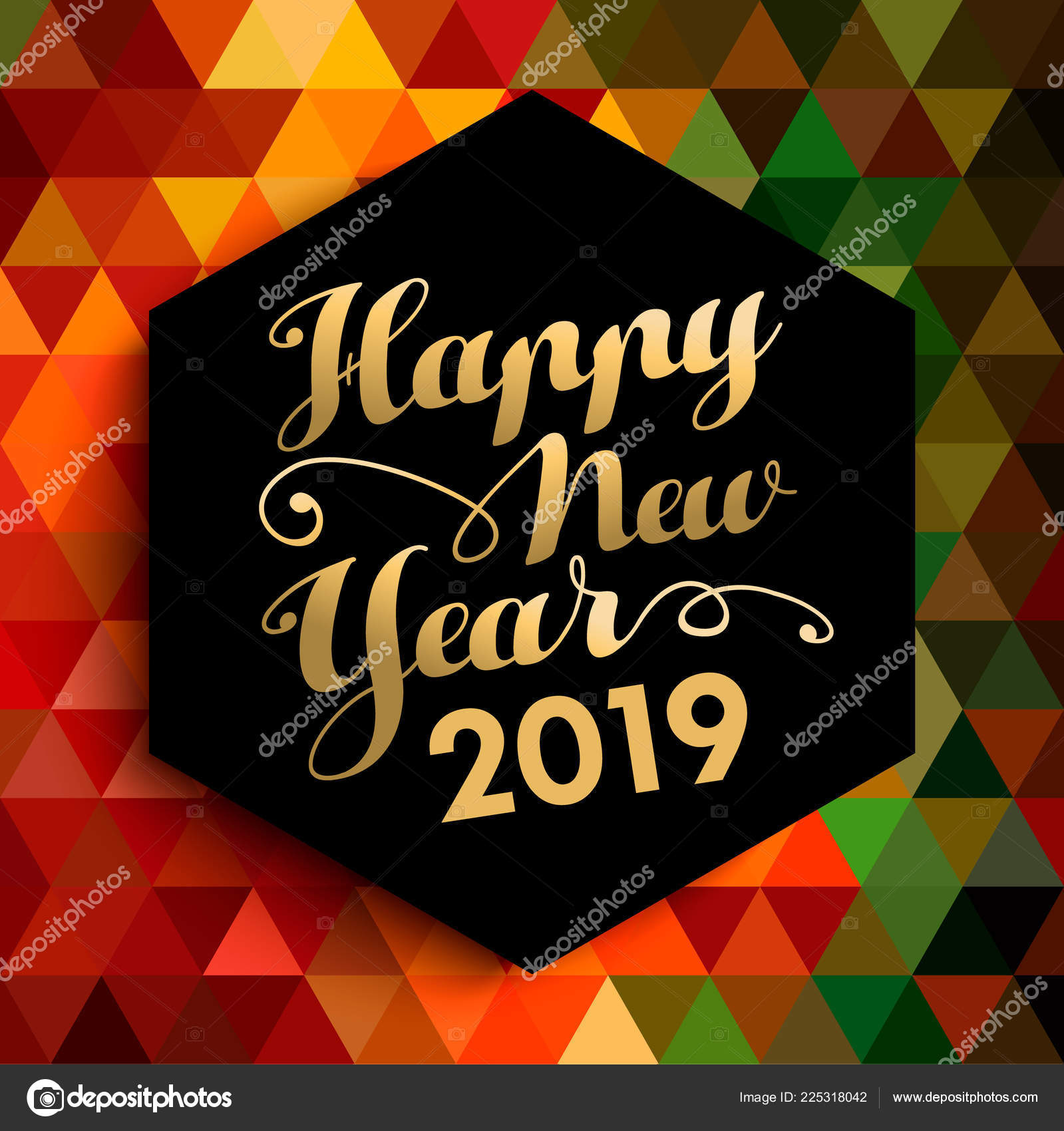 happy new year 2019 gold lettering label abstract low poly stock vector