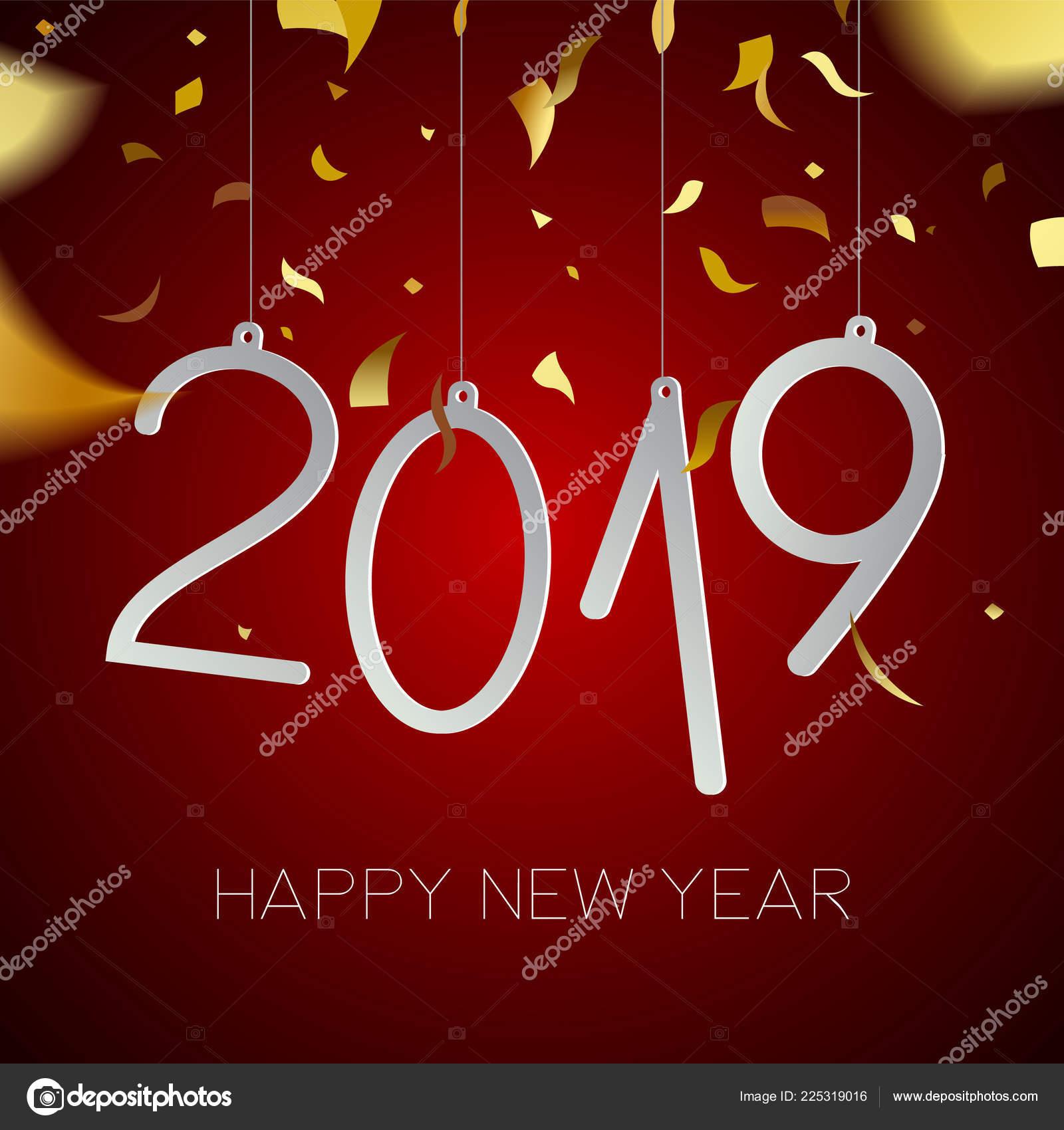 Heureuse Nouvelle Année 2019 Illustration Jour Férié Parti