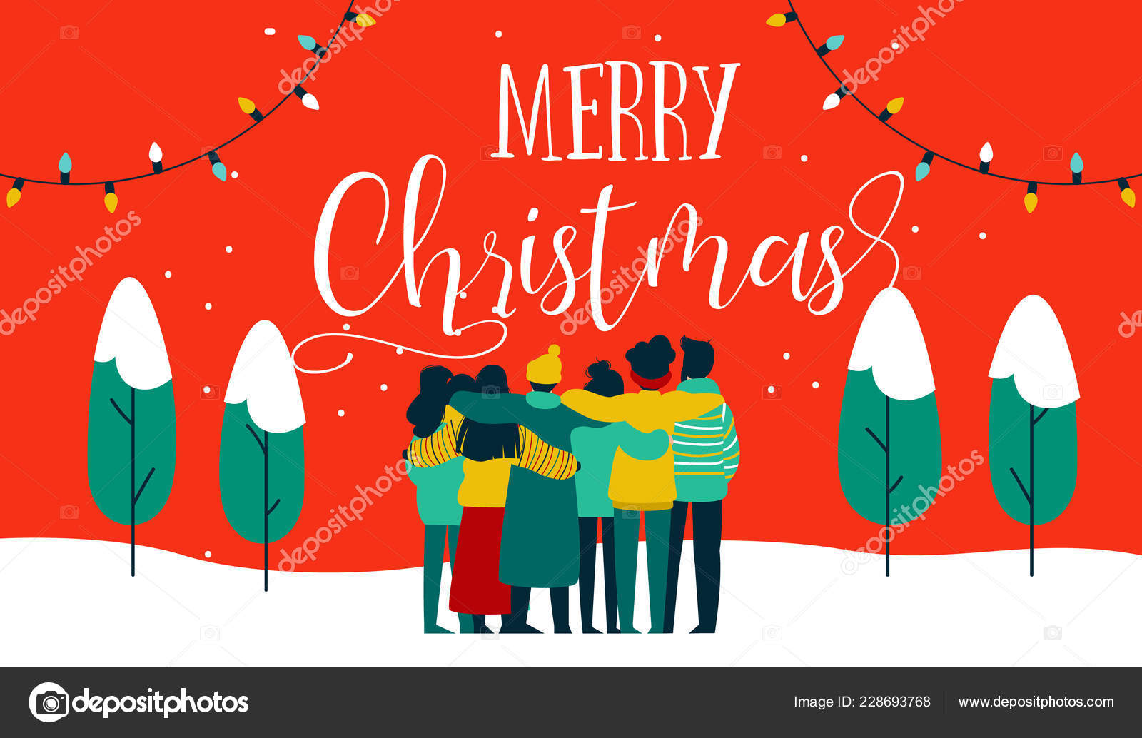 Merry Christmas Greeting Card Illustration Young People Friend Group Hugging Stock Vector C Cienpies 228693768