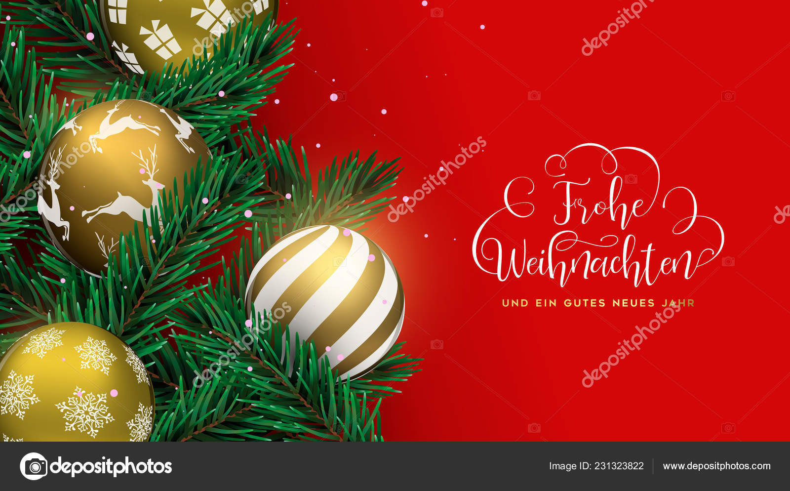 How Do You Say Merry Christmas In German.Merry Christmas Happy New Year Card German Language Gold