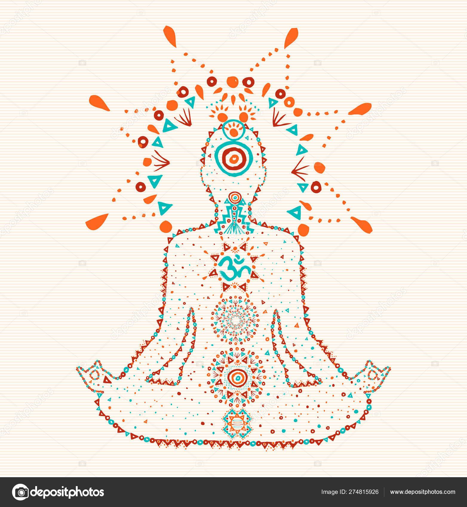 Woman Doing Lotus Yoga Pose In Boho Art Style Stock Vector C Cienpies 274815926