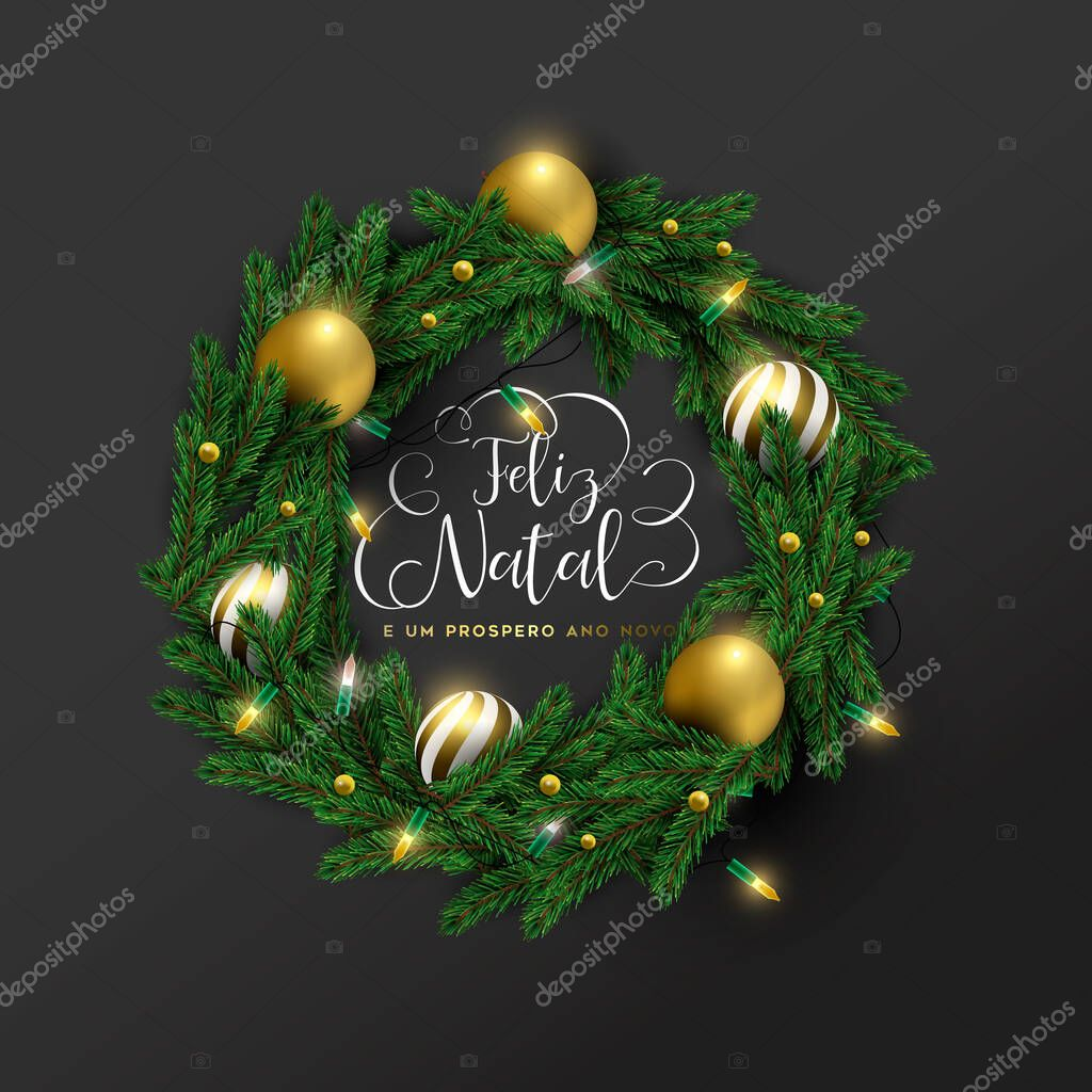 Merry Christmas Happy New Year Greeting Card Illustration Of 3d Holiday Wreath With Gold Bauble Ornaments And Lights In Portuguese Language Festive Xmas Decoration On Elegant Black Background Premium Vector In