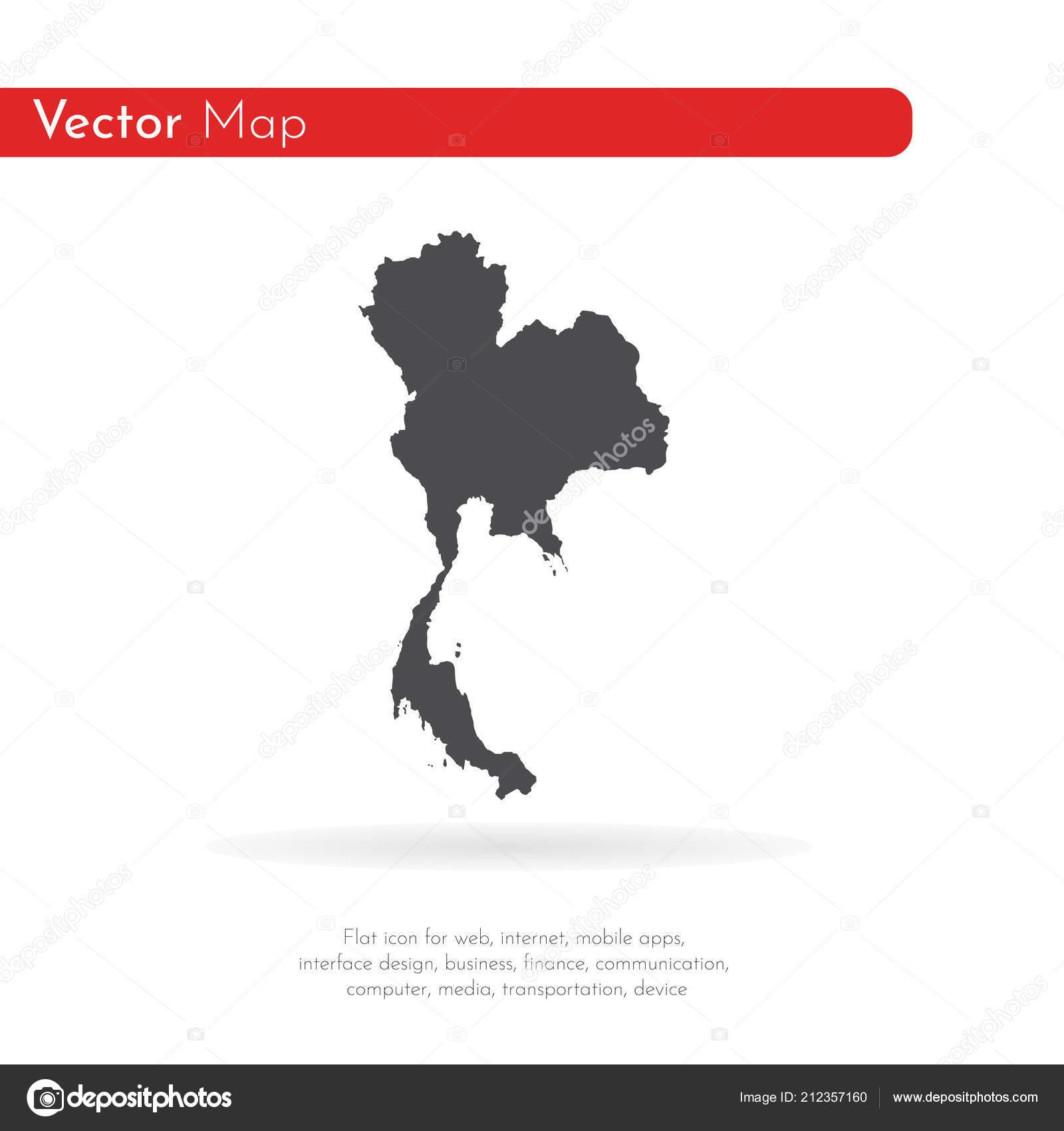 Carte Thailande Noir Et Blanc.Carte Thailande Vecteur Isoles Vector Illustration Noir Sur