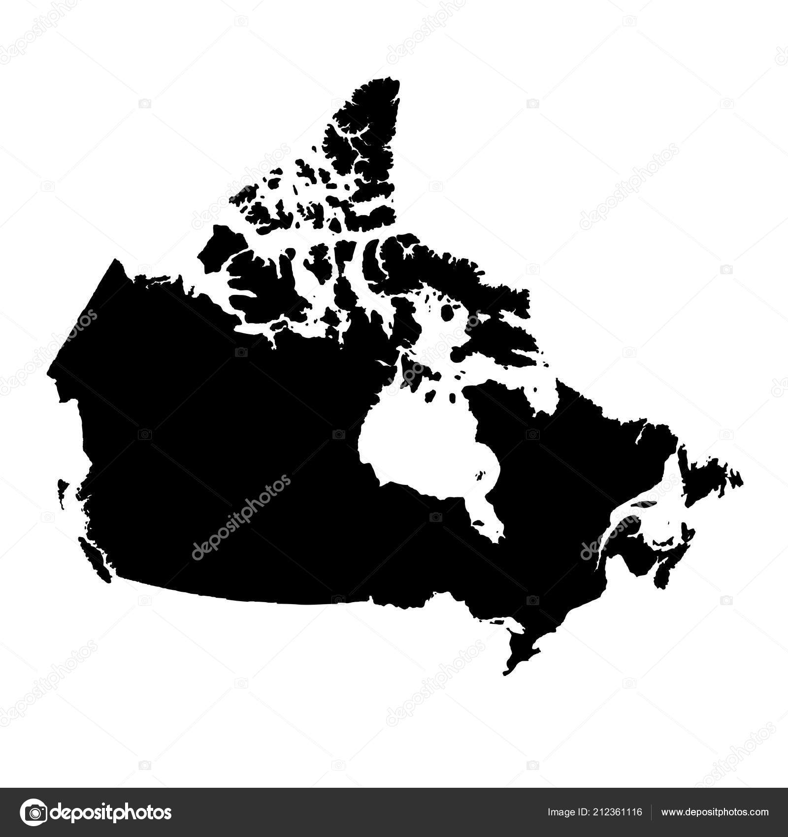 Map Of Canada Eps.Vector Map Canada Isolated Vector Illustration Black White