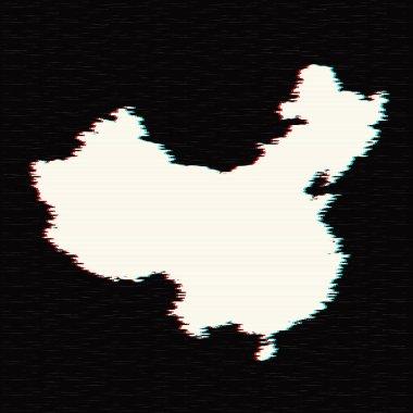 Vector map China. Isolated vector Illustration. Black on White background. EPS 10 Illustration.