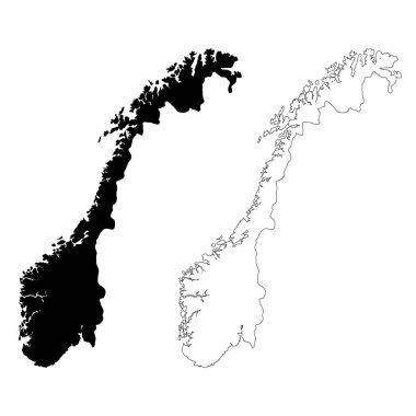 map Norway. Isolated Illustration. Black on White background.