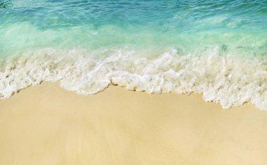 Sandy tropical beach, splashing waves.