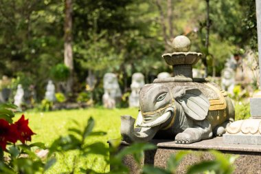 Stone ruined elephant statue in forest, Taiwan, Asia stock vector