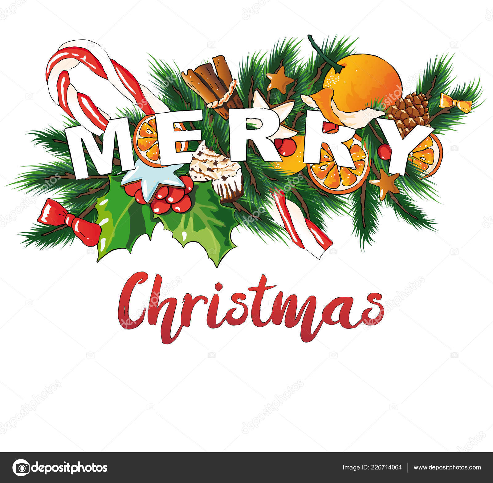 Merry Christmas vector illustration. — Stock Vector © kiraan #226714064