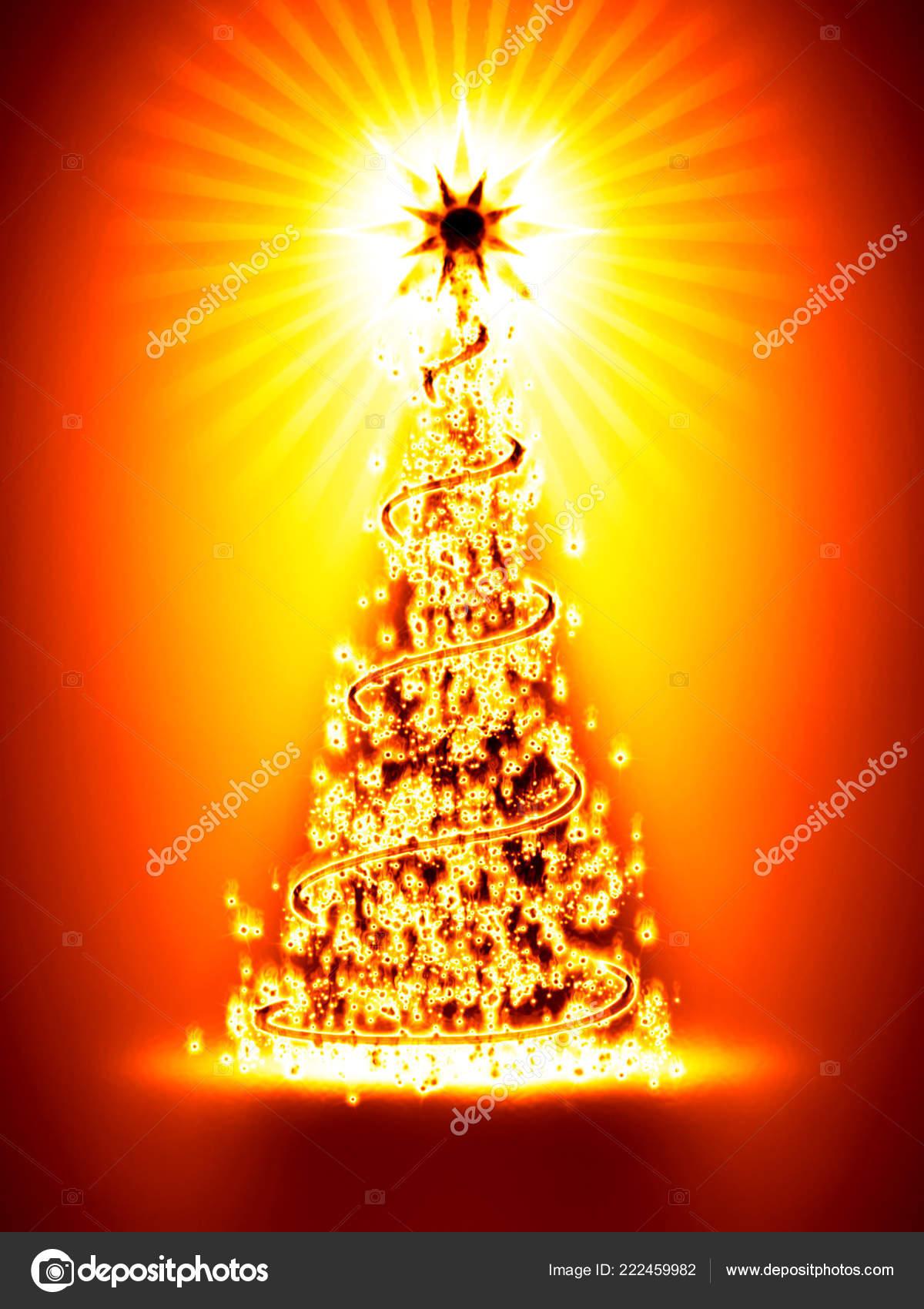 Burning Christmas Tree.Burning Christmas Tree Orange Background Stock Photo