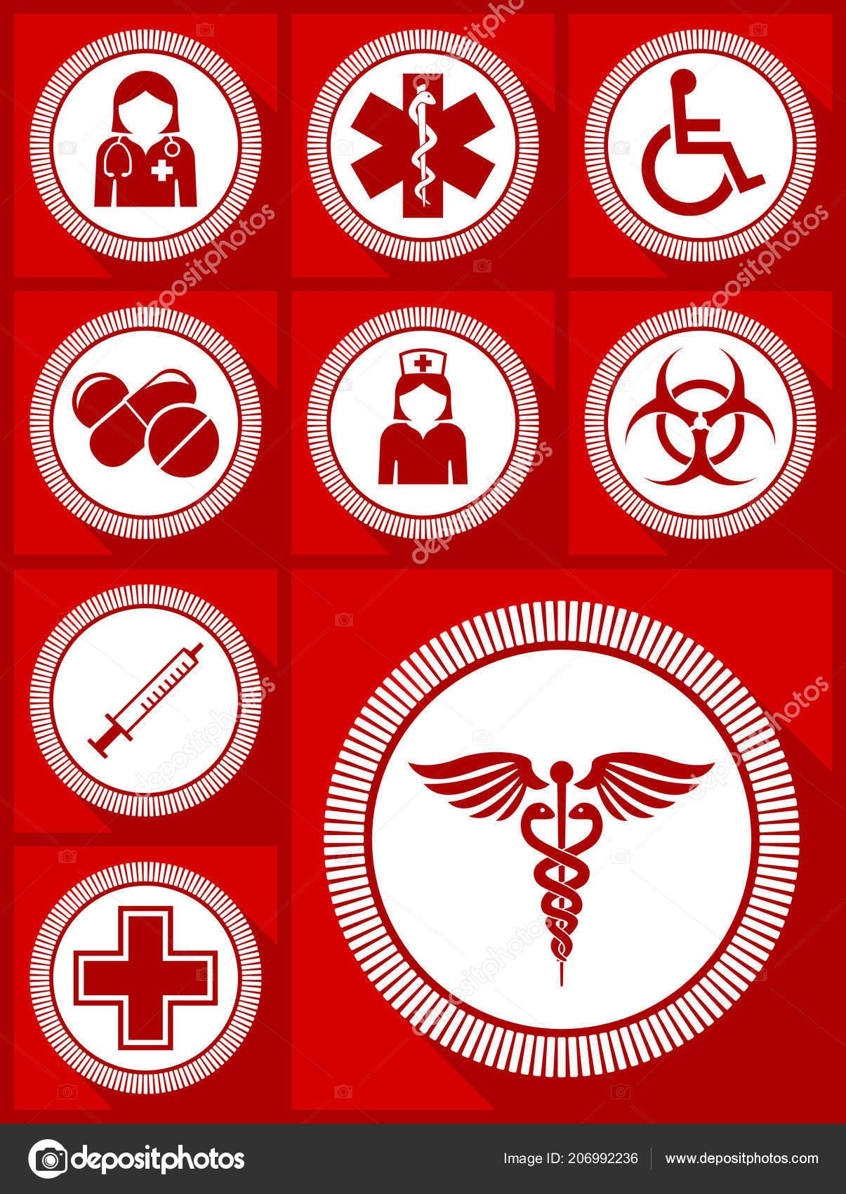 Medicine Vector Icon Set Hospital Doctor Nurse Wheelchair Drugs