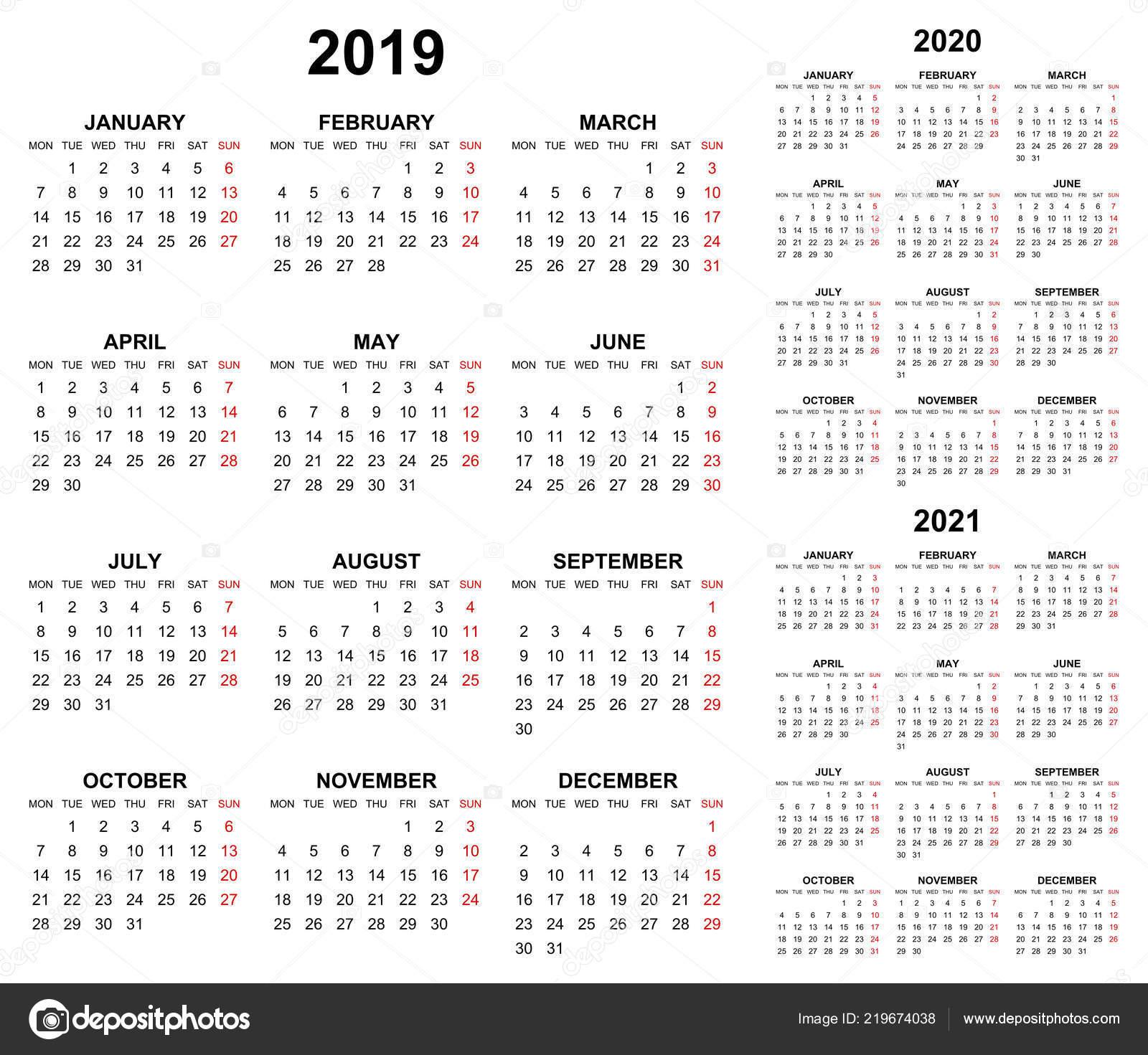 Calendario 2020 Editable Illustrator.Simple Editable Vector Calendars Year 2019 2020 2021 Mondays