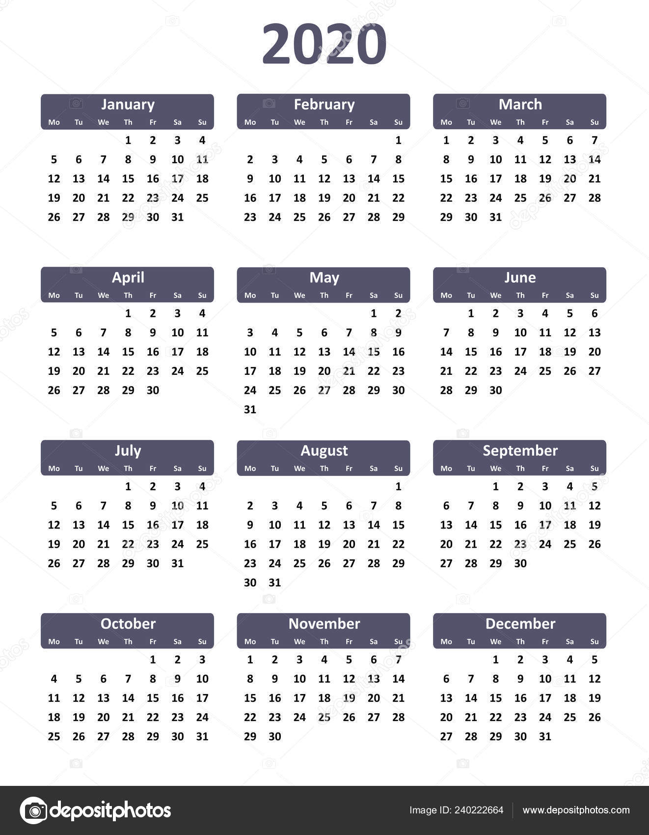 Calendar For Year 2020 Simple Editable Vector Calendar Year 2020 — Stock Vector