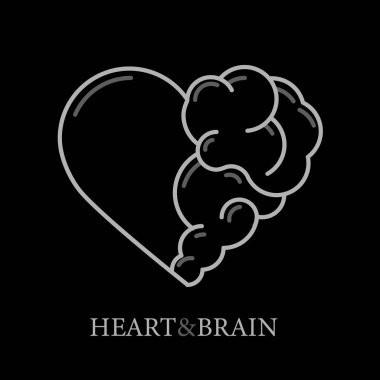Heart and Brain flat modern icon logo vector design. Interaction between soul and intelligence, emotions and rational thinking or teamwork and balance