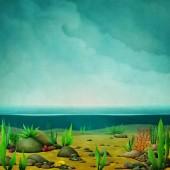Fotografia Illustrazione di natura bizzarra fantasia del fondo del mare e del cielo