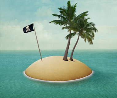 Background or illustration or poster of lonely island with palm trees and pirate flag in the sea