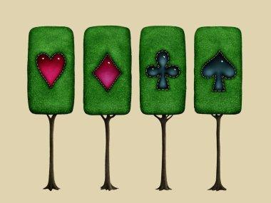 Isolated Magical fantasy tree Wonderland decorated card suit element. - Illustration