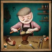 Fantasy illustration of old Shoemaker