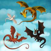 Fantázia tündérmese illusztráció vagy képeslap vagy poszter a négy mágikus sárkány borítójára.