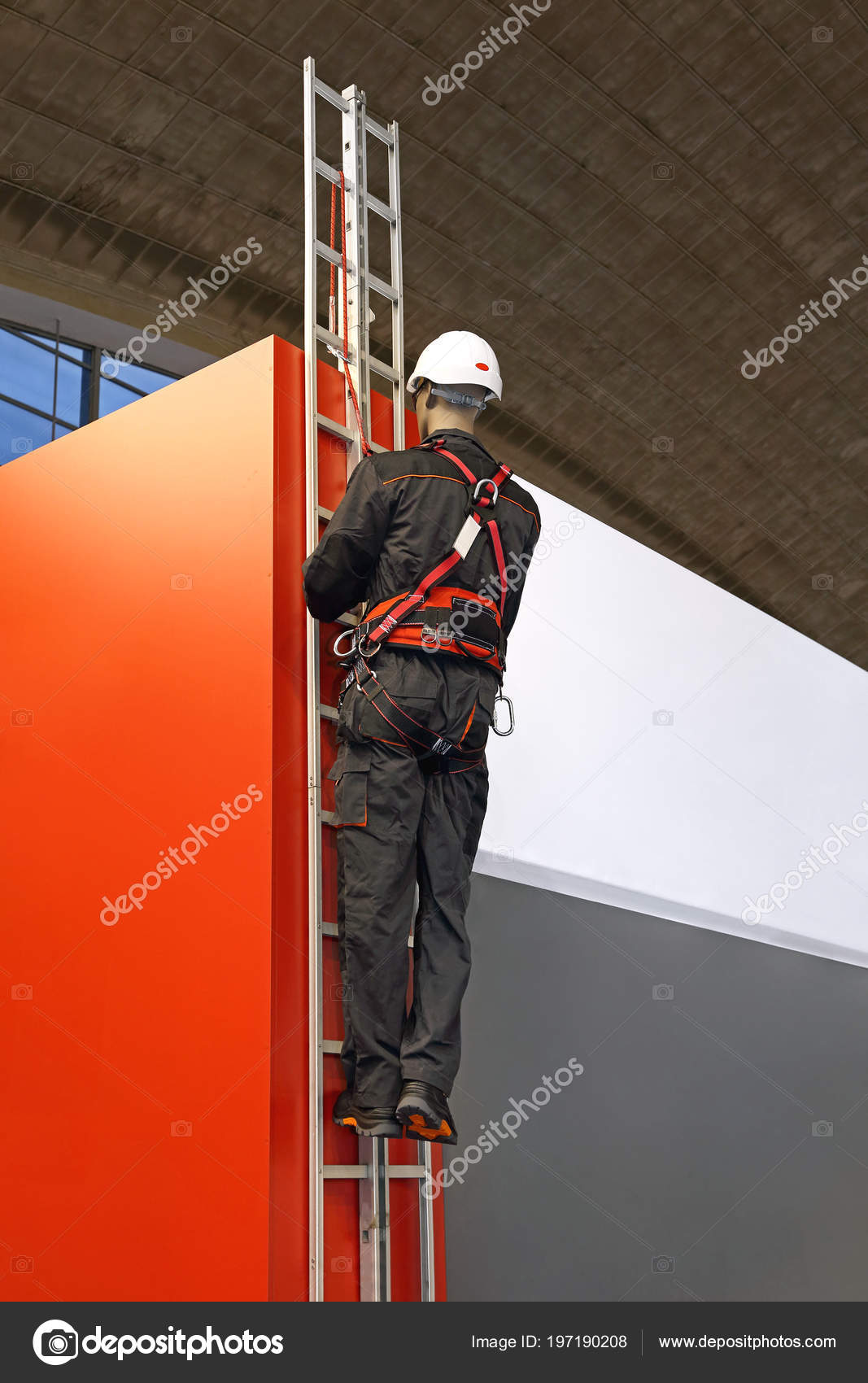 Worker Ladder Uses Safety Harness Protective Gear Prevent