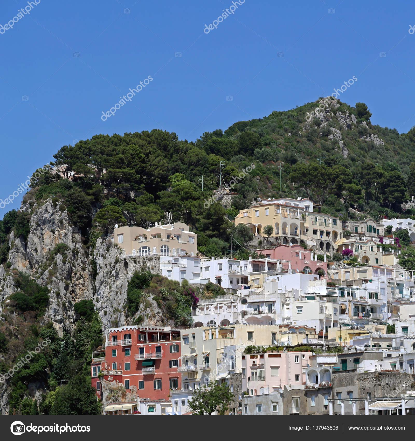 . Houses Cliffs Capri Island Italy   Stock Photo   Baloncici  197943806