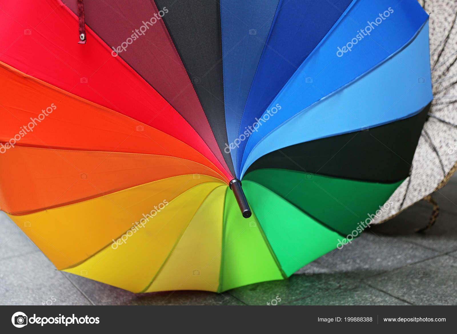 decorative parasol all colors rainbow stock photo baloncici