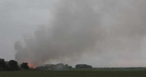 Garbage Dump Landfill Fire With Heavy Smoke Pollution