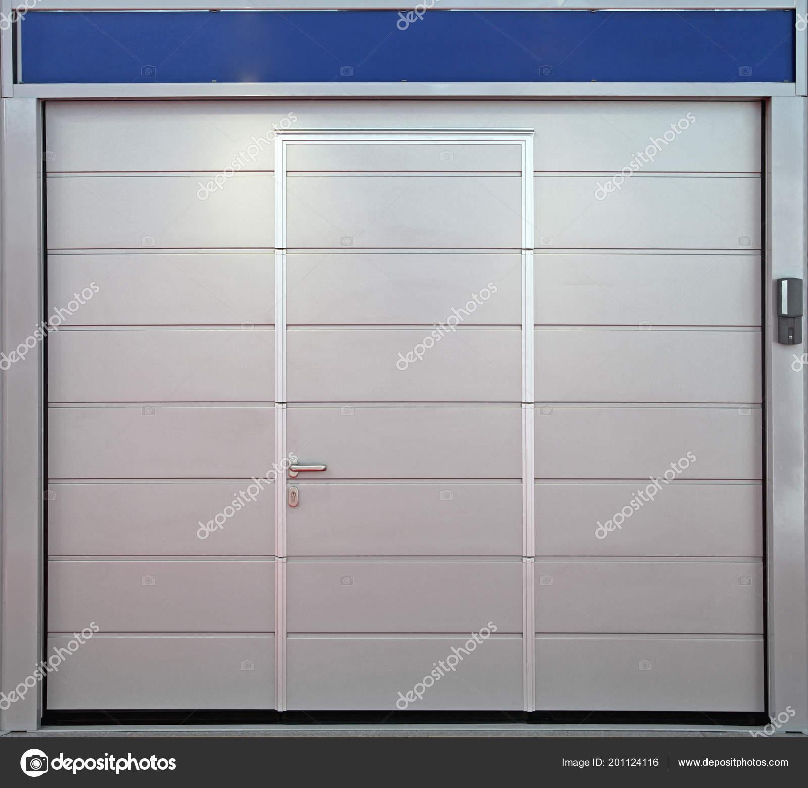 Grey Car Garage Doors Built Door Entrance Stock Photo Baloncici