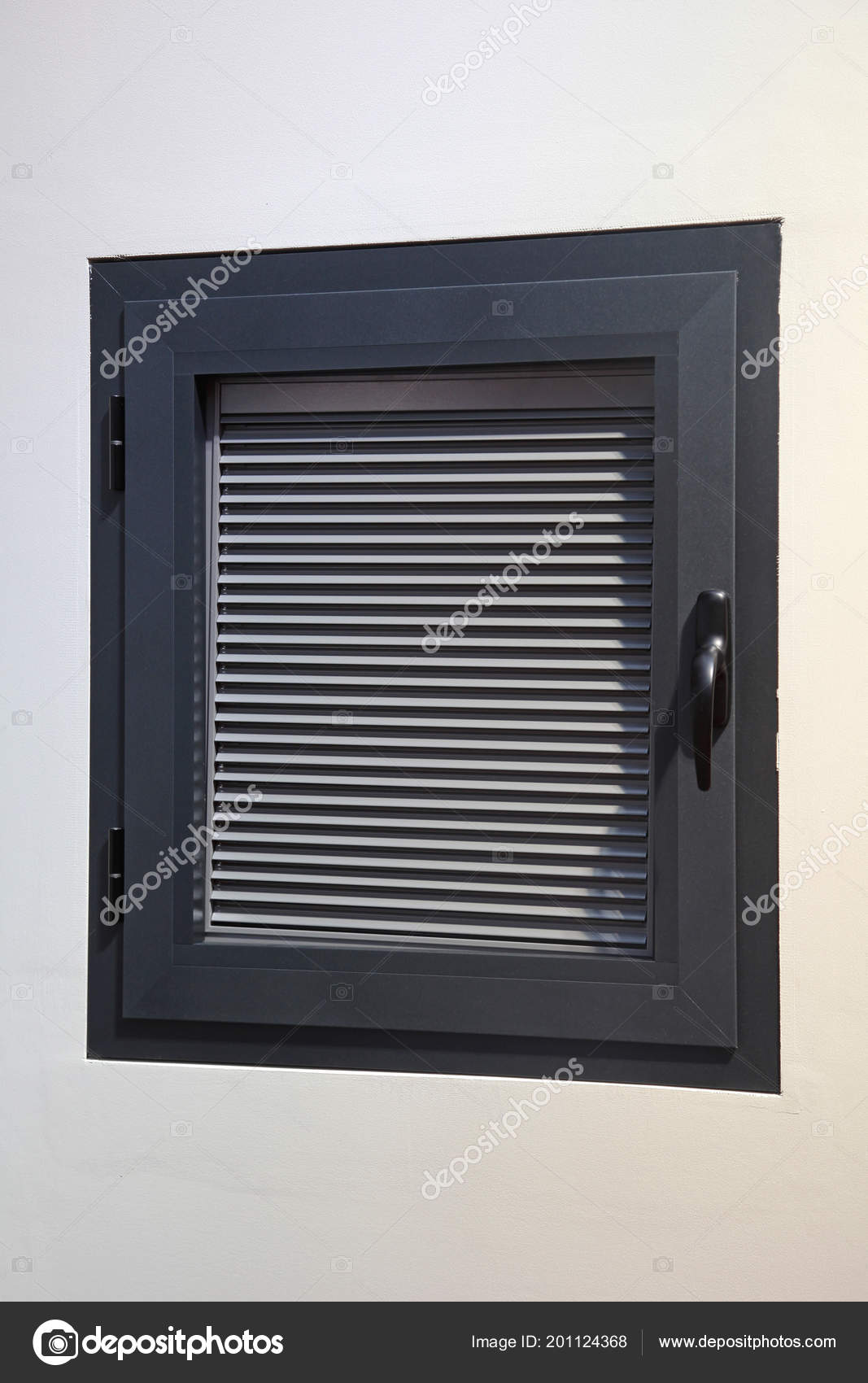 small window blinds roman blinds small window closed privacy venetian blinds stock photo
