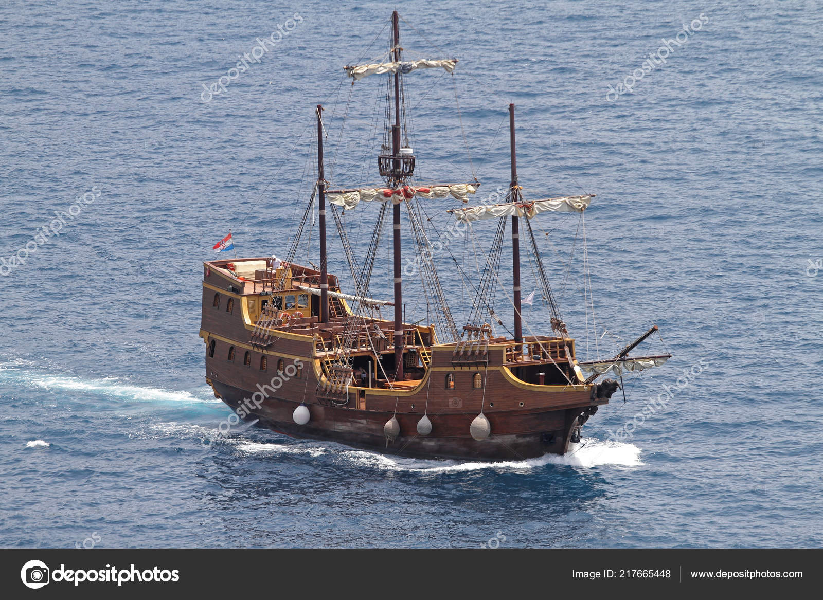 Berühmt Mittelalterlichen Piraten Schiff Replik Adria — Stockfoto PI85