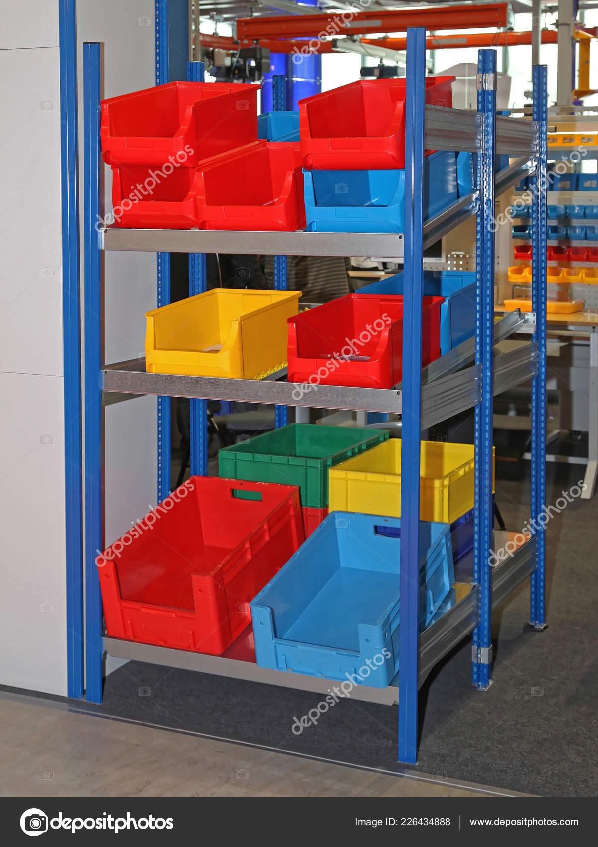 Colorful Plastic Bins Crates Gravity Shelf Storage Stock