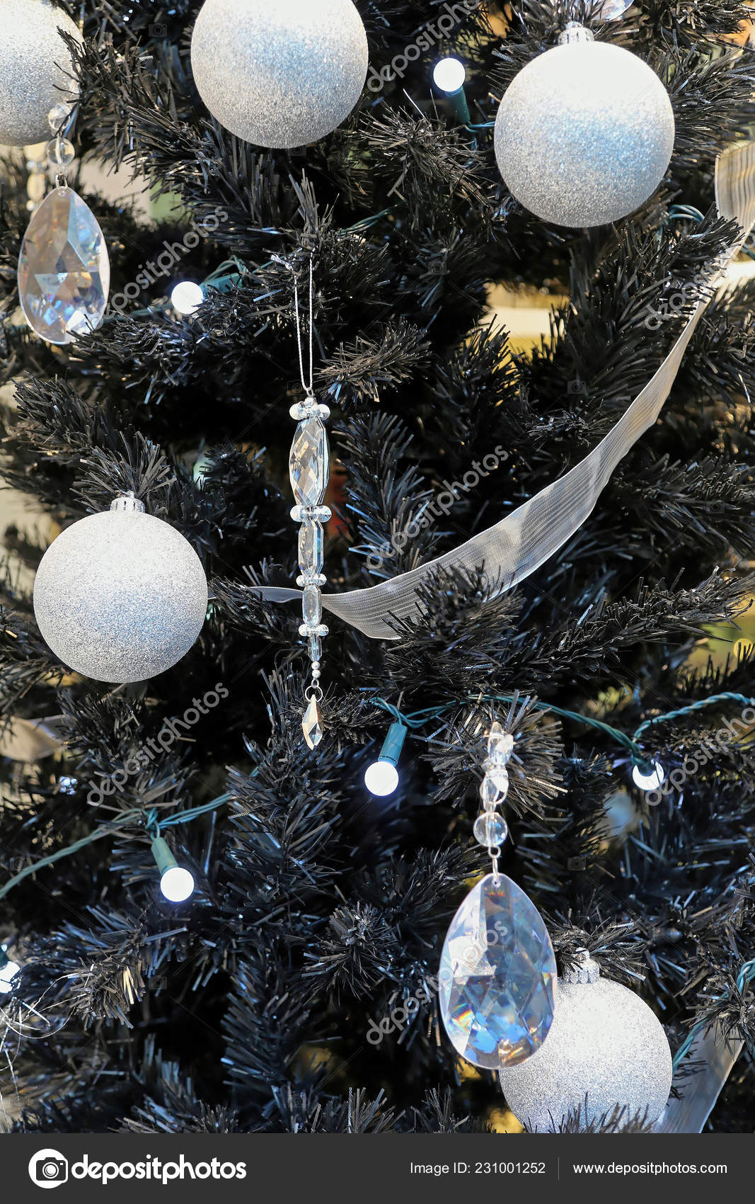 Black Christmas Tree Silver Baubles Crystal Ornaments Stock Photo Image By C Baloncici 231001252