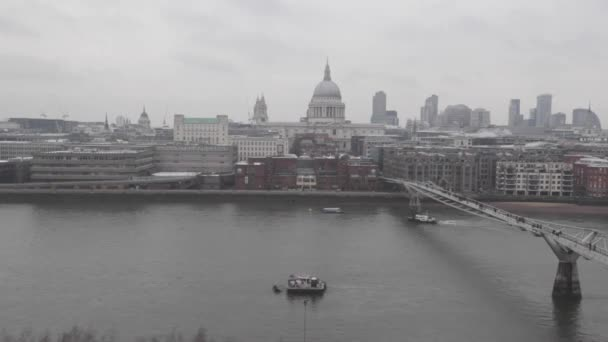 Millennium Bridge and Thames River at Winter Day in London Time Lapse Video