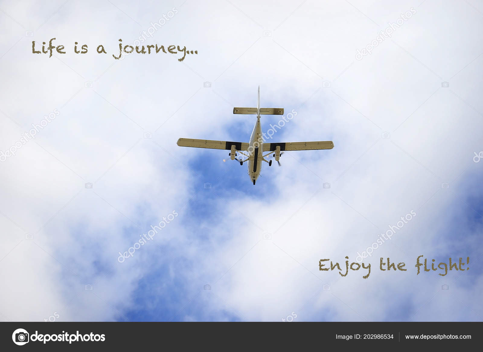 Old Propeller Airplane Flying Cloudy Sky Inspirational Quote Stock