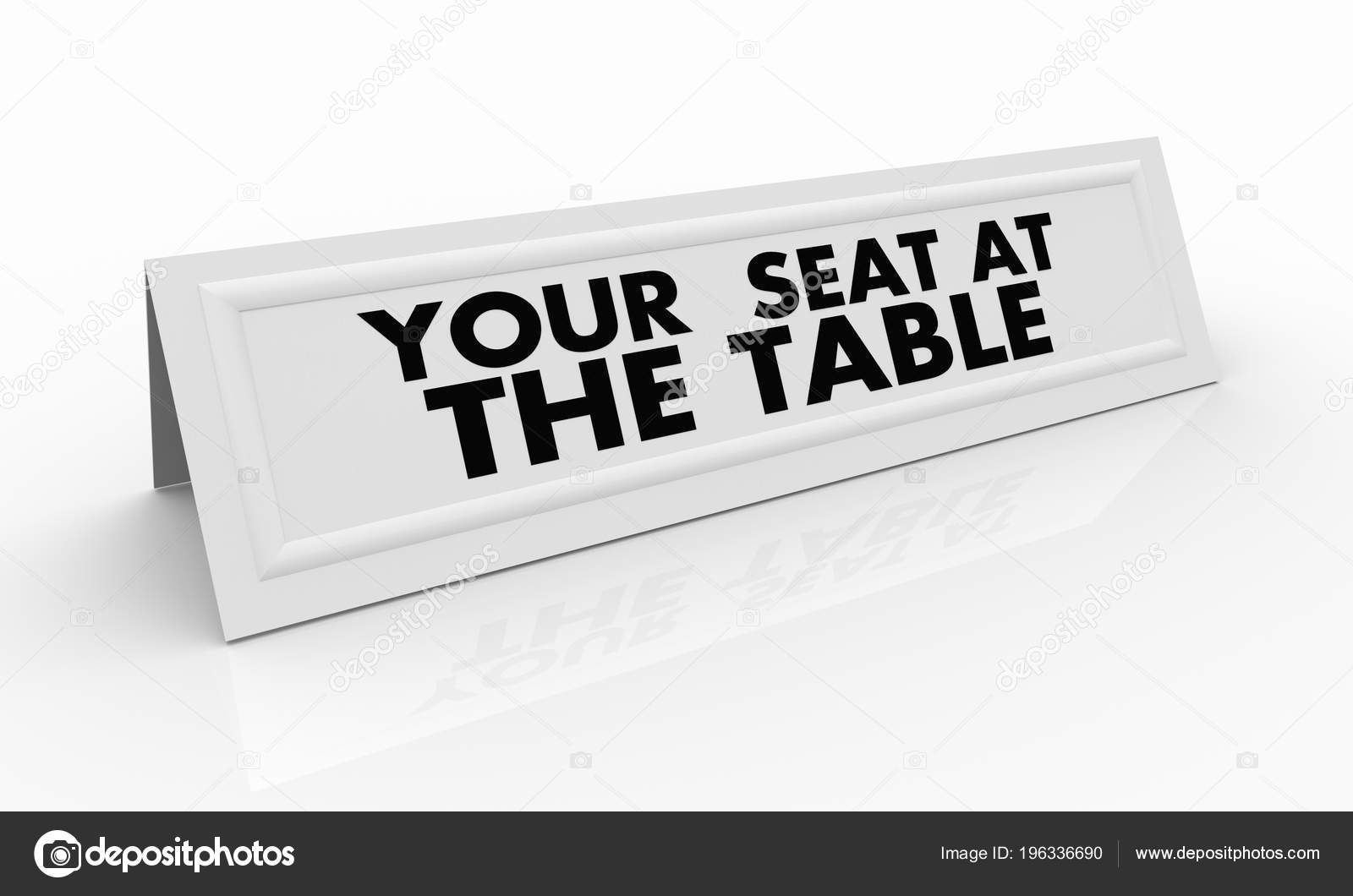 your seat table name tent card render illustration stock photo
