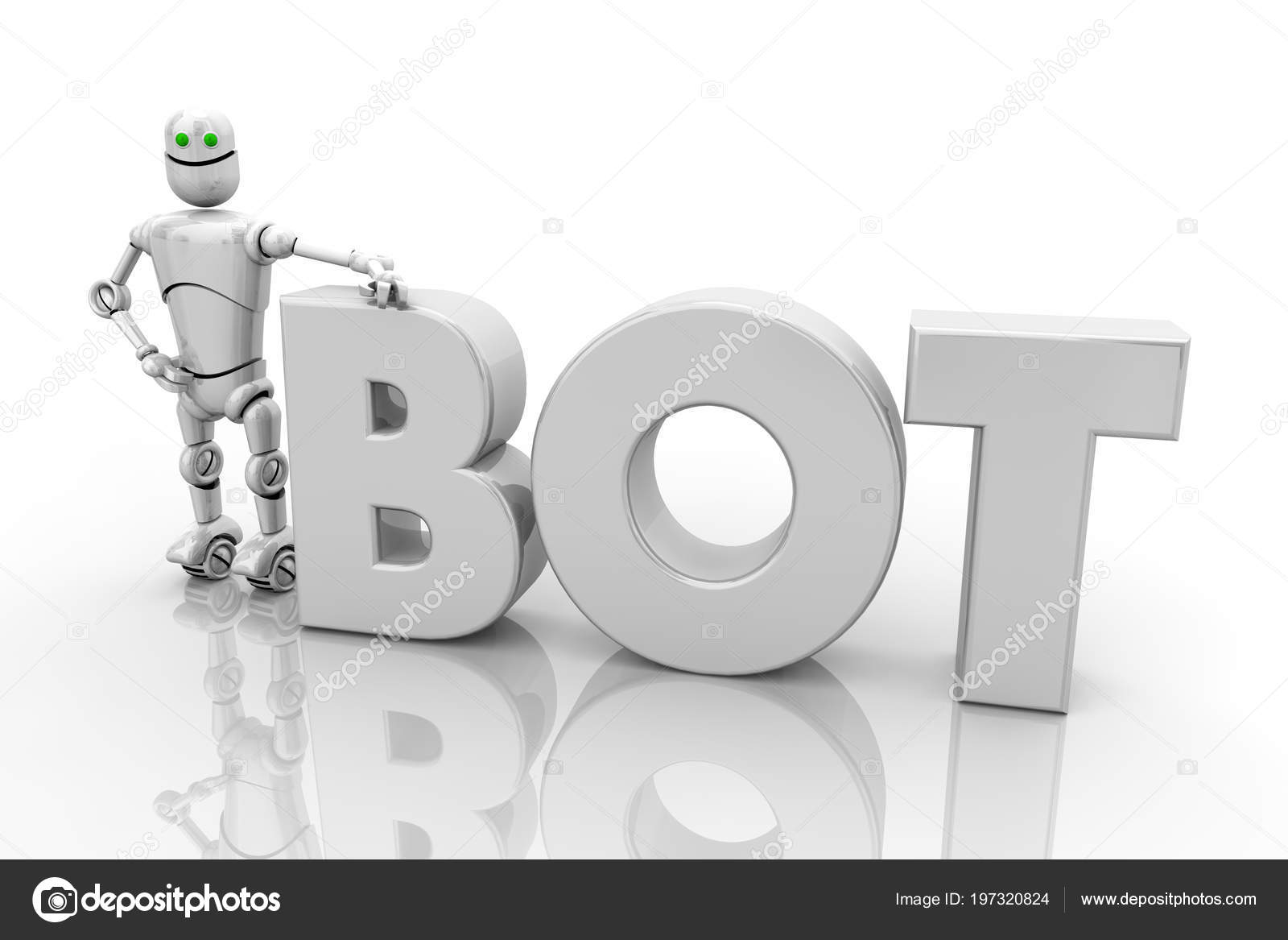 Bot Android Robotics Word Render Illustration Stock Photo