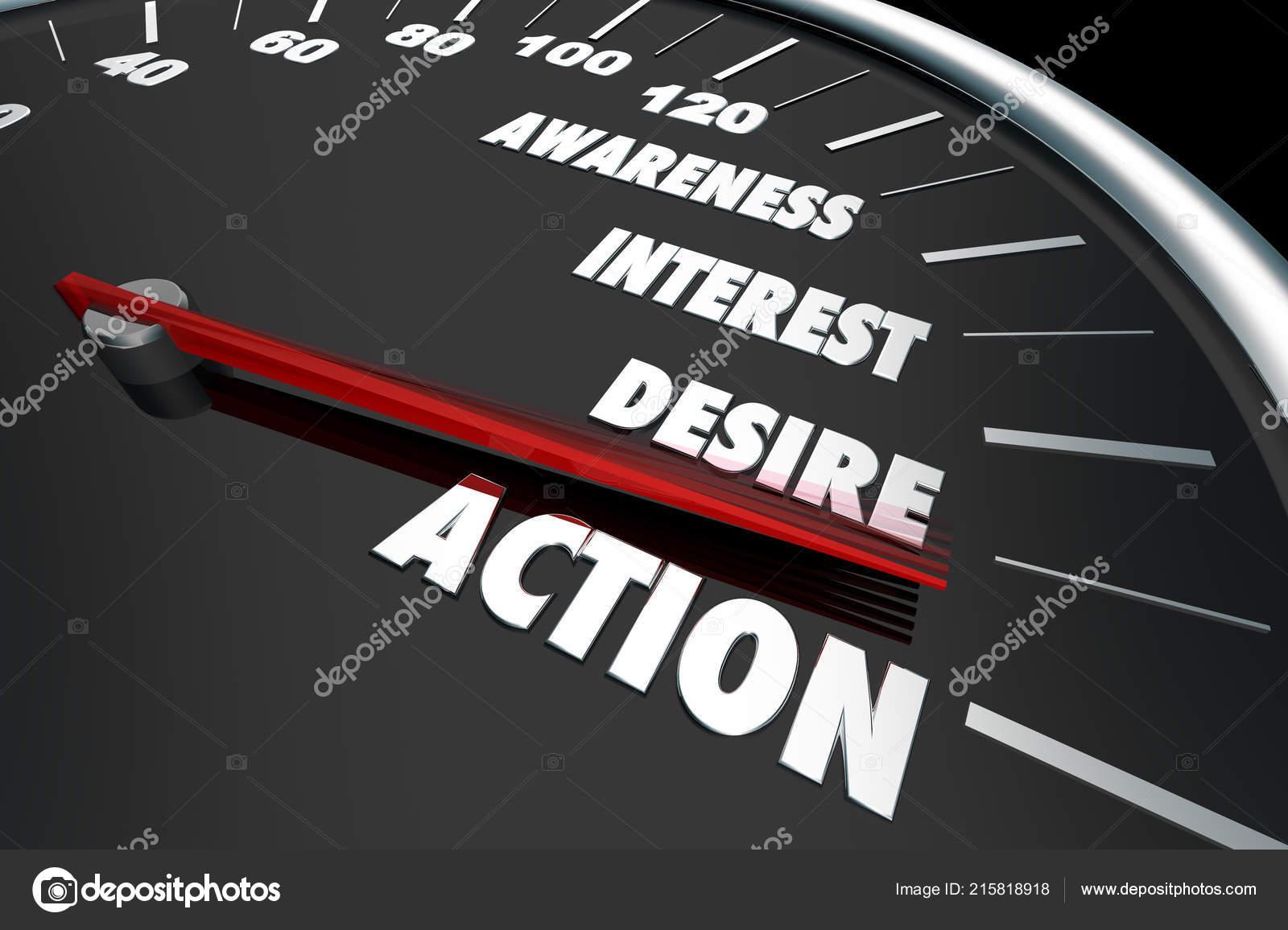 Consciência Interesse Desejo Ação Velocímetro Palavras Ilustração —  Fotografia de Stock 2659c791bd1a0
