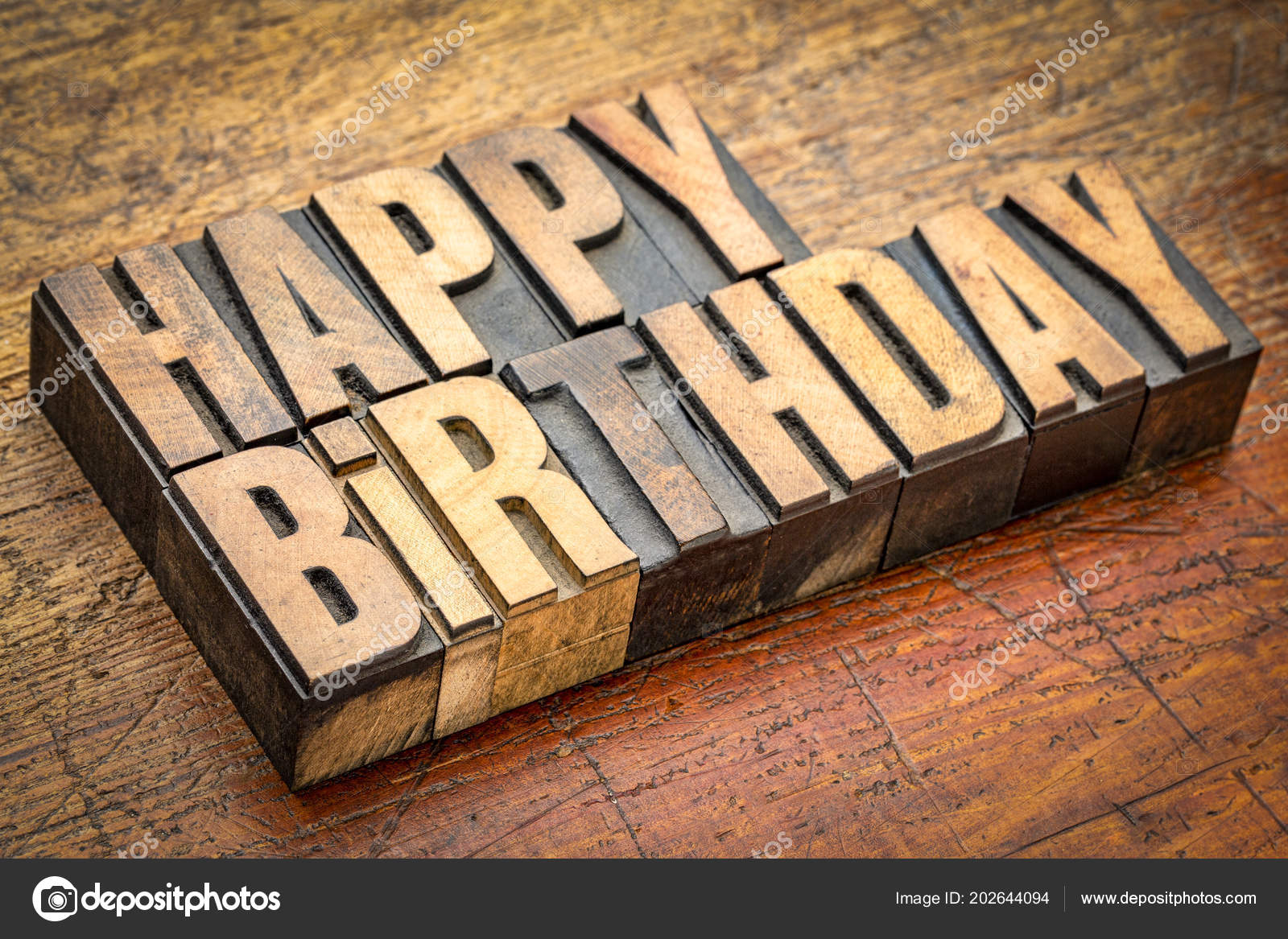 Happy Birthday Greeting Card Vintage Letterpress Wood Type Rustic Weathered Stock Photo