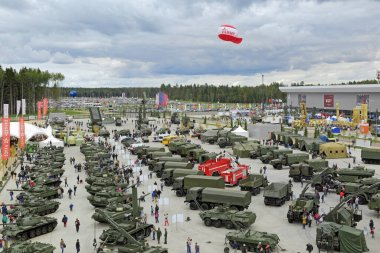 KUBINKA, MOSCOW OBLAST, RUSSIA - SEP 10, 2016: International military-technical forum ARMY-2016 in military-Patriotic park. Top view