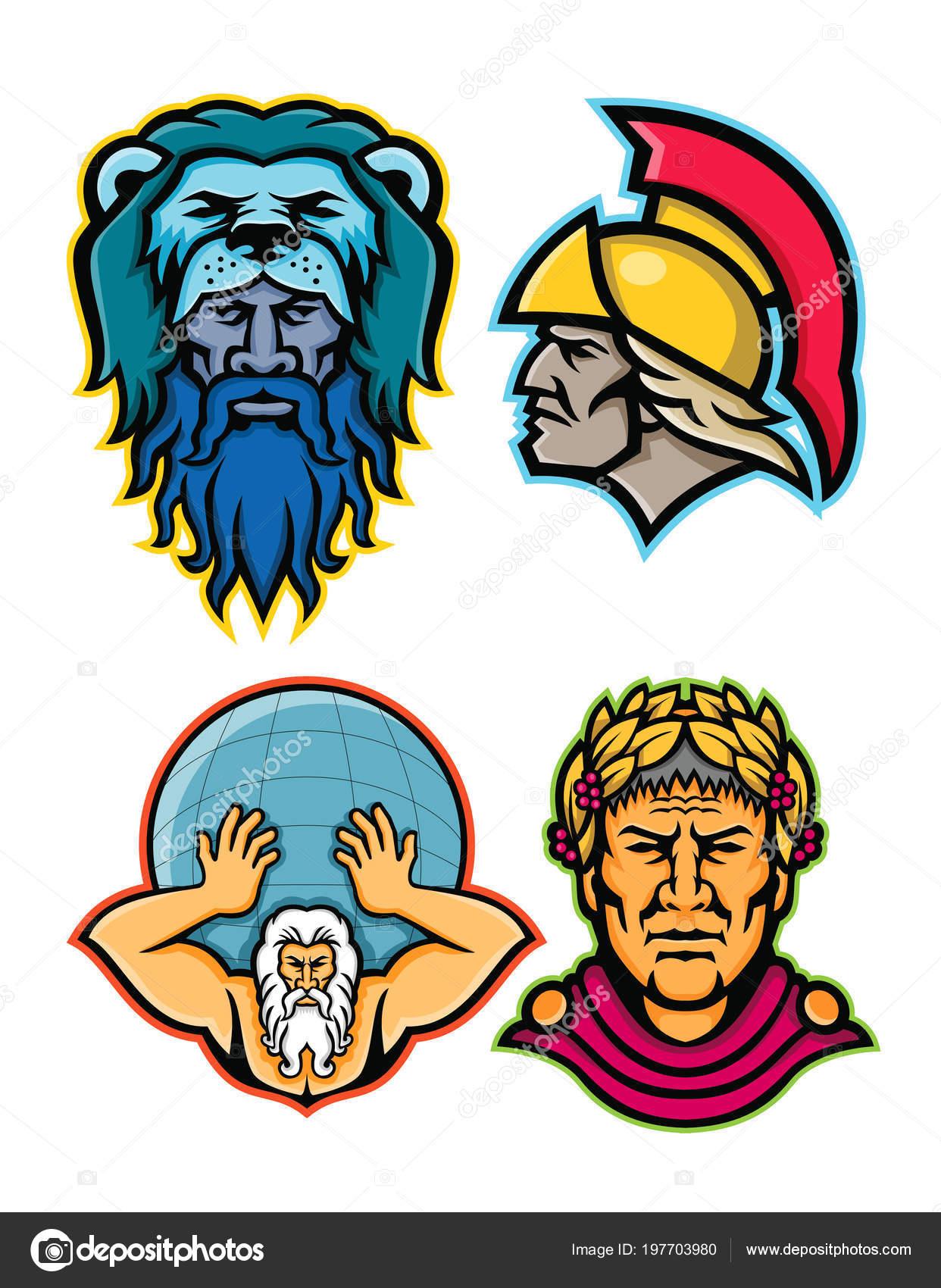 Mascot Icon Illustration Set Heads Roman Greek Heroes Gods