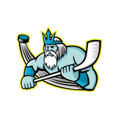 Mascot icon illustration of Poseidon or Neptune, god of the Sea in Greek and Roman mythology holding an ice hockey stick with puck viewed from front on isolated background in retro style.