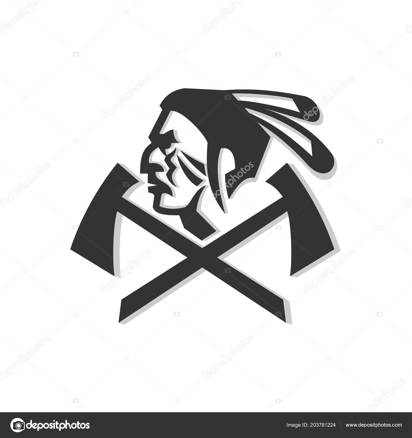 Mascot Icon Illustration Head Native American Indian Warrior Feather