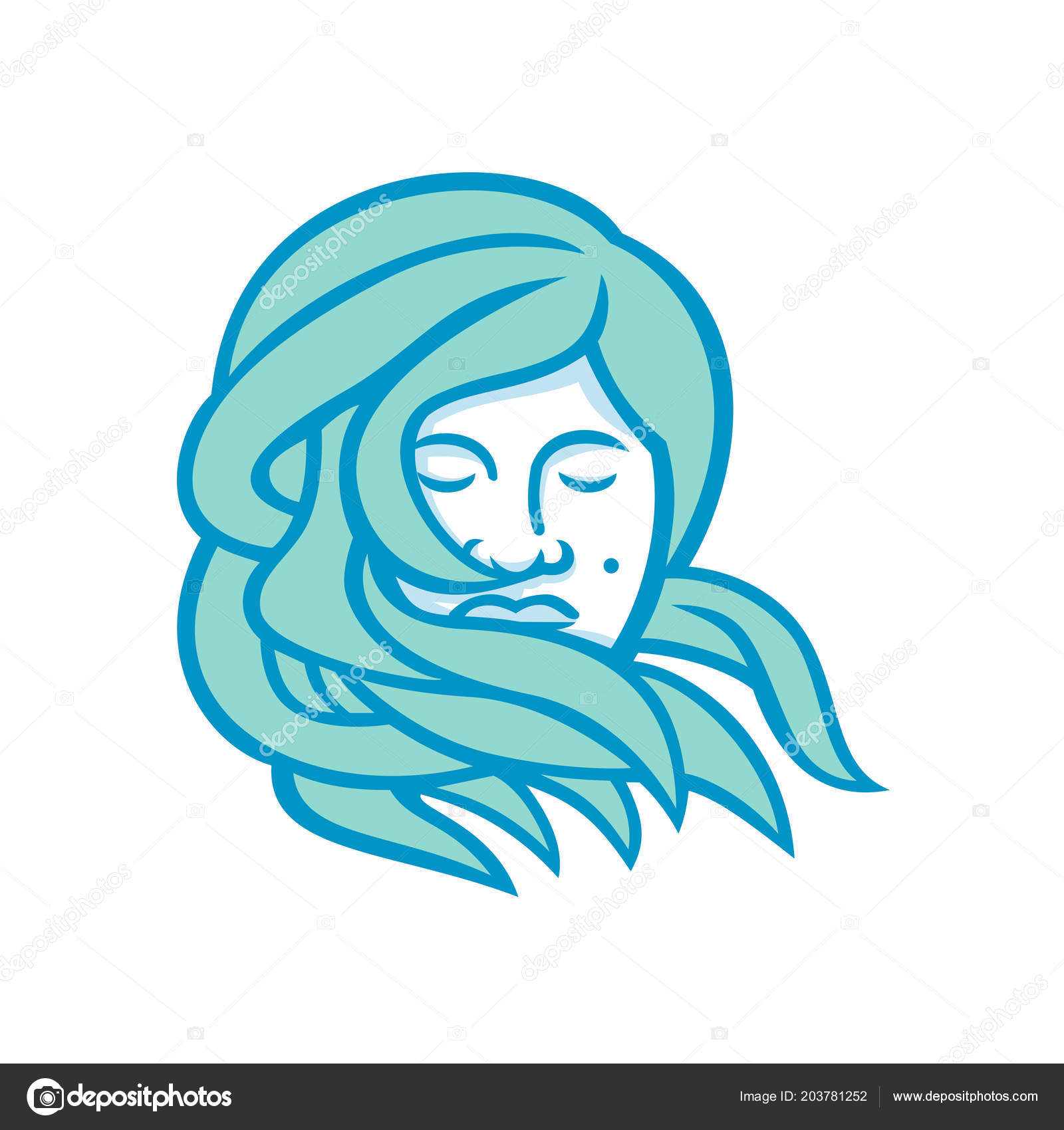Mono Line Illustration Face Polynesian Woman Flowing Hair Viewed