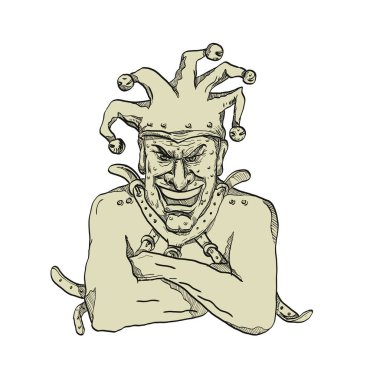 Drawing sketch style illustration of a crazy, lunatic or insane harlequin, professional joker, fool or court jester wearing a straitjacket or strait jacket while laughing viewed from front on isolated background.