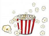 2D animációs mozgóképek mutatja egy popcorn rajza, a piros-fehér csíkos vödör popping a fehér háttér.